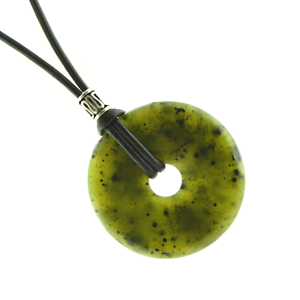 Canadian-Nephrite-Jade-40mm-Donut-Pendant-Necklace-PB36-Leather-Cord-Luck-Wealth