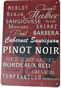 Details about WINE SIGN METAL TIN PLATE SIGNS vintage cafe pub bar garage  retro kitchen bistro