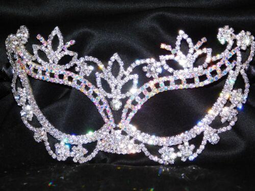 Silver AB Rhinestone Crystal Masquerade Mask Mardi Gras Bridal //Prom Party //1340