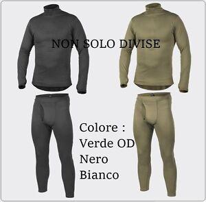 Completo Intimo TERMICO Tecnico Militare Maglia + Pantaloni Nero Bianco Verde