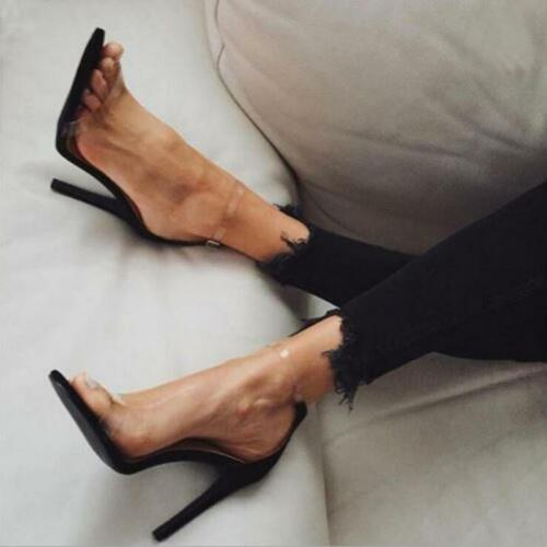 Women Casual Clear Peep Open Toe Ankle Strap Stilettos High Heel Pump Sandals JJ