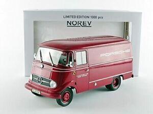 NOREV-183416-MERCEDES-BENZ-L319-model-van-Porsche-red-1960-Ltd-Ed-1-18th