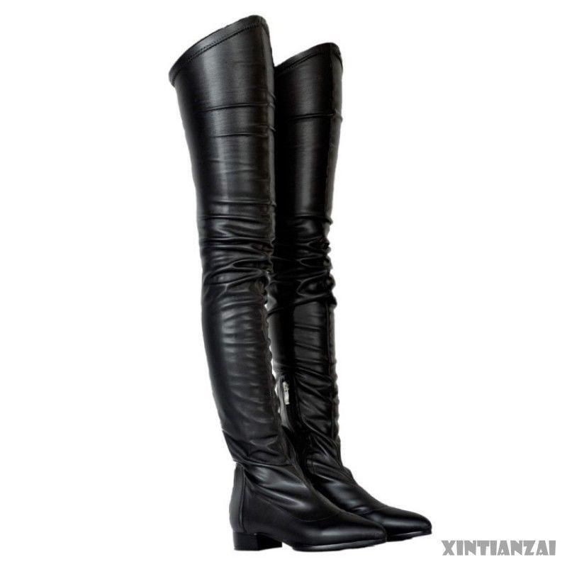 negozio online donna Sexy Stretch Low Low Low Block Heel Thigh High stivali Pointed Toe PU Leather scarpe  garanzia di qualità