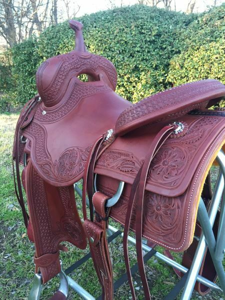 Western Havana Leather Roper Ranch with Leather Strings   15 ,16 , 17   store online