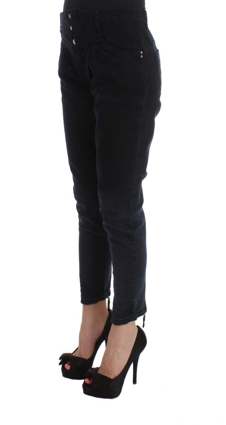 Nuovo Costume National C C C e C Pantaloni Jeans Cotone Nera Slim Corto S.W28 708297