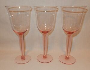 Set of 3 Pink 8 3/4 inche tall Goblets 10 1/2 oz Wine Cocktail Party Glasses