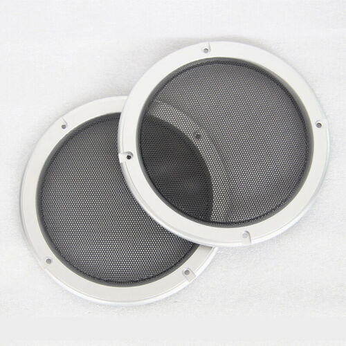 """2pcs 5/"""" inch Silver Car Speaker Grill Cover Decorative Circle Metal Mesh Grille"""