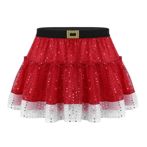 Women Christmas Costume Girls Shiny Sequin Short Skirt Santa Cosplay Fancy Dress