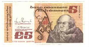 IRELAND-5-Punt-VF-XF-Banknote-18-07-1990-P-71e-CIK-Prefix-Doyle-Cromien-Sign