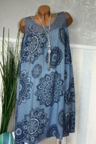 IT.Sommerkleid Strandkleid Luftig BLÜTE Zartes Muster Jeans 44 46 48 50//161-31