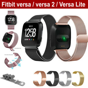 For-Fitbit-Versa-2-Lite-Band-Stainless-Steel-Metal-Milanese-Loop-Wristband-strap