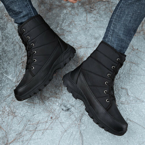 MENS WARM FUR LINED CASUAL COMFORT WALKING HIKING WINTER ANKLE BOOTS TRAINERS SZ