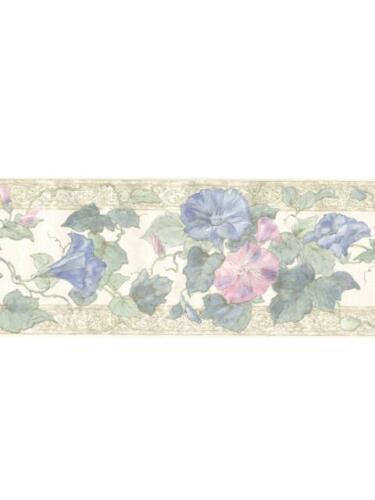 Pink and Blue Morning Glories on Beige and cream Silk WALLPAPER BORDER