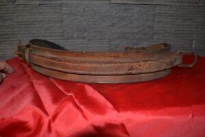 Ancienne ceinture (A confirmer) en cuir épais et large à 2 boucles ... 42a61e10fb6