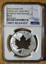 2016 $5 Canadian 1oz Silver Reverse Proof Maple Wolf Privy NGC PF69, pop limited
