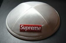 Supreme Yarmulke Yamaka White Satin Hat    6-Panel Camp Cap Box Logo