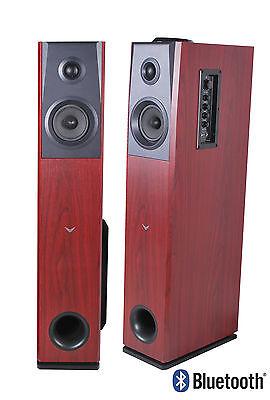 Visonik Cherry Wood Floorstanding Powered Home Bluetooth FM Radio Tower Speakers
