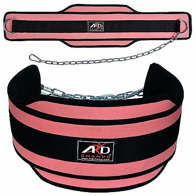 PINK Neoprene Weight Lifting Dip Belt Exercise Belt Fitness Body Building Belt