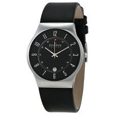 Skagen Black Dial Black Leather Mens Watch 233XXLSLB