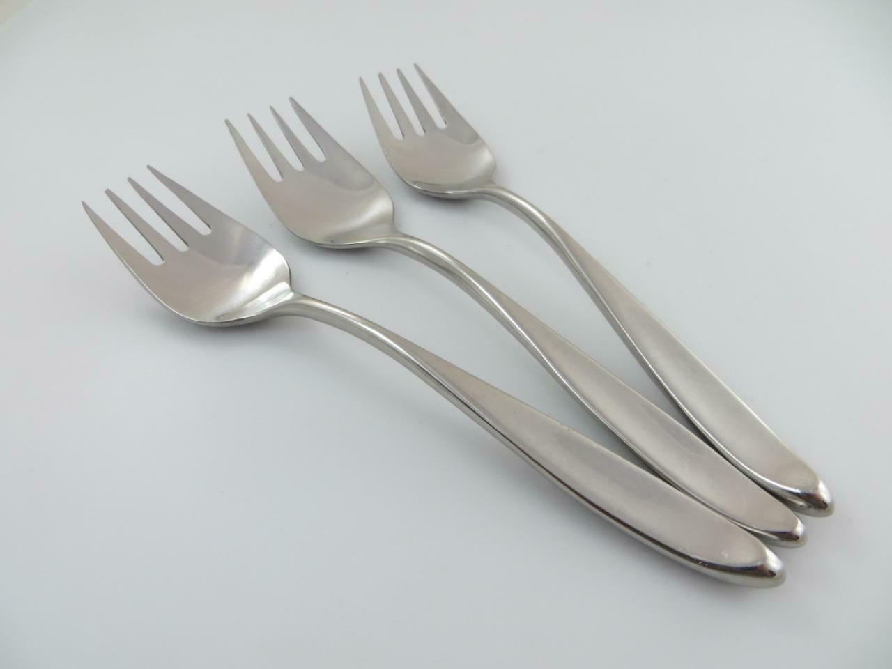 3 Salad Forks DESIGN 2 Norway Towle Lauffer Stainless Steel 18 8 Flatware Satin