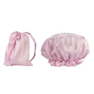 Dilly-039-s-Collection-Waterproof-Shower-Cap-w-Travel-Bag-Bath-Accessory-Pink