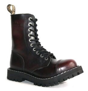 BOOTS-STEEL-TOE-RANGERS-10-HOLE-Burgundy-Rub-Off-Gothic-Punk-Skinhead