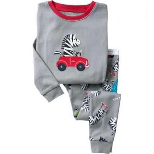 Grey zebra car home pyjamas set fashionable and handsome pure cotton 2Y-7Y