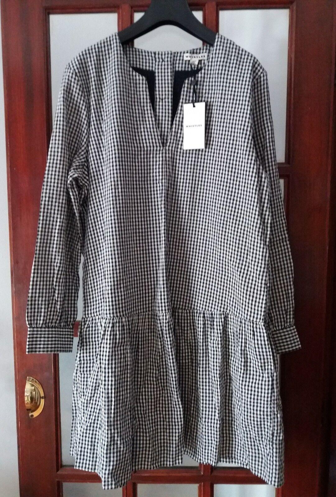 BNWT Whistles Dropped Hem Gingham Cotton Dress UK12 14 rrp