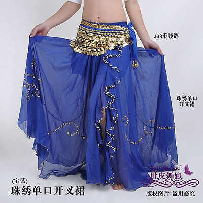New 8 color Chiffon Sequins Split Long Skirt Swing Skirt