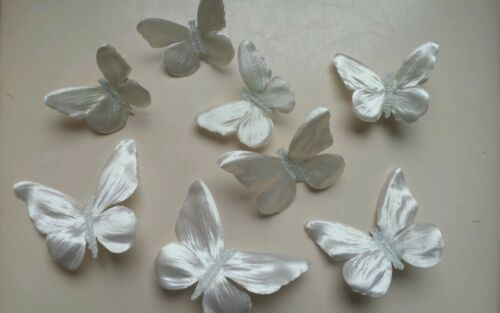 8 BUTTERFLY CLIPS SATIN PEARL IVORY PETALS WEDDING //PARTY CELEBRATION DECORATION