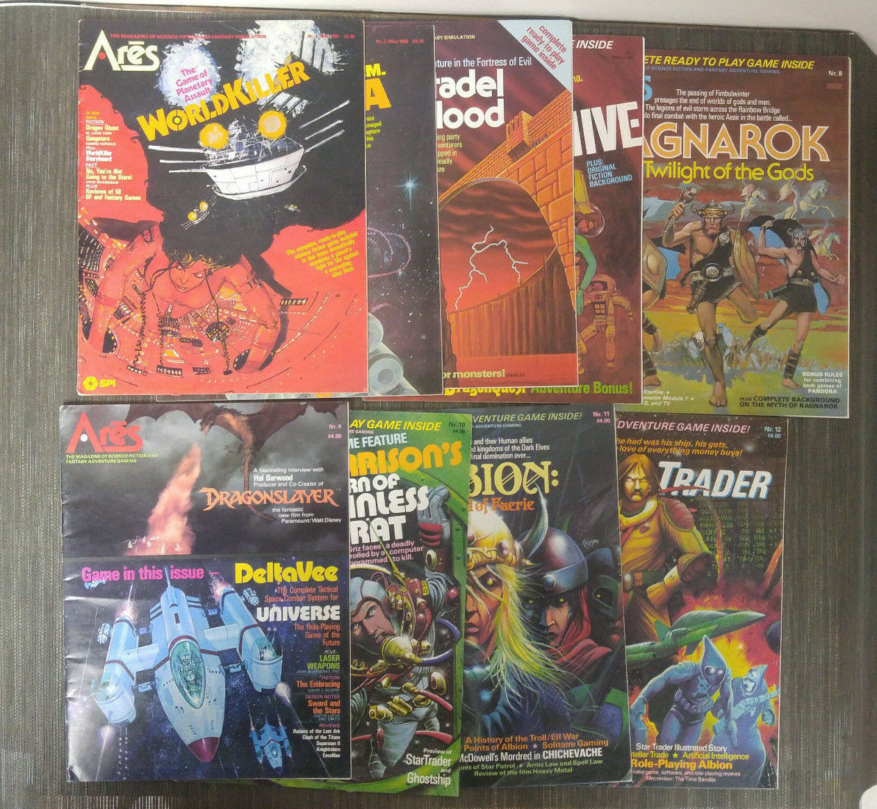 SPI Ares Magazine - 9 Books Lot - NO GAME - 1980-1981 Science Fiction Gaming GUC