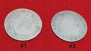 Set-Of-2-SIlver-Coins-Spain-2-Reales-Carolus-IV-Charles-IV-1793-MF-Madrid-Mint