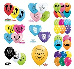 Disney-Character-Themed-Qualatex-5-034-Round-amp-6-034-Heart-Shaped-Latex-Party-Balloons