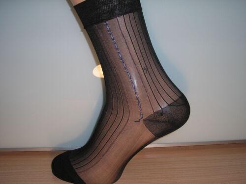 Nero con blu e bianco motivo laterale Con motivo a costine Sheer Nylon Calze