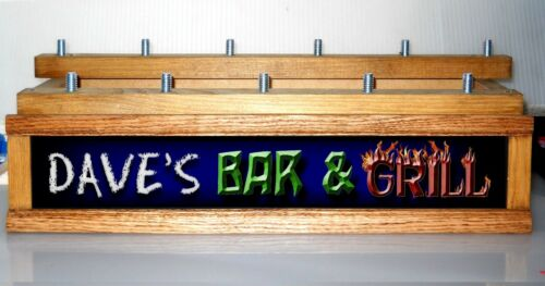 MULTI COLOR LEDS BAR /& GRILL BAR SIGN 11 BEER TAP DISPLAY PERSONALIZED