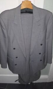 Austin Reed Regent Street Black White Dog Tooth Double Breasted Wool Suit 42 28 Ebay