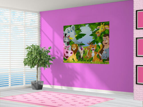 Animals in the Jungle Lion Zebra Wallpaper wall mural bedroom 13497135 Cartoon
