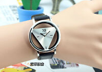 Women Mens Leather Band Stainless Steel Sport Analog Quartz Wrist Watch one hs