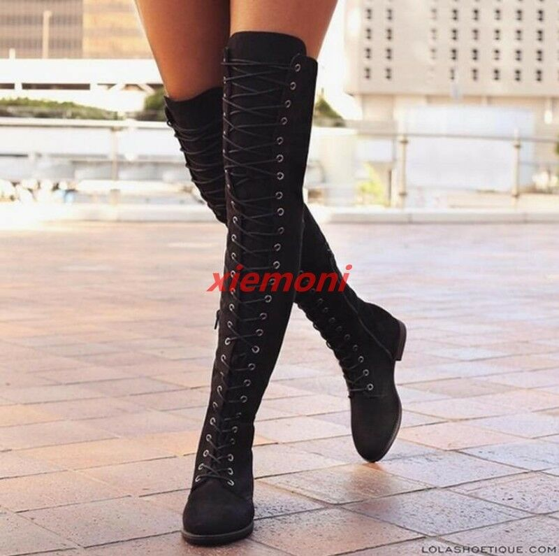 2019 Womens Over Knee High Boots Lace Up Zip Flats Knight Boots Casual shoes Hot