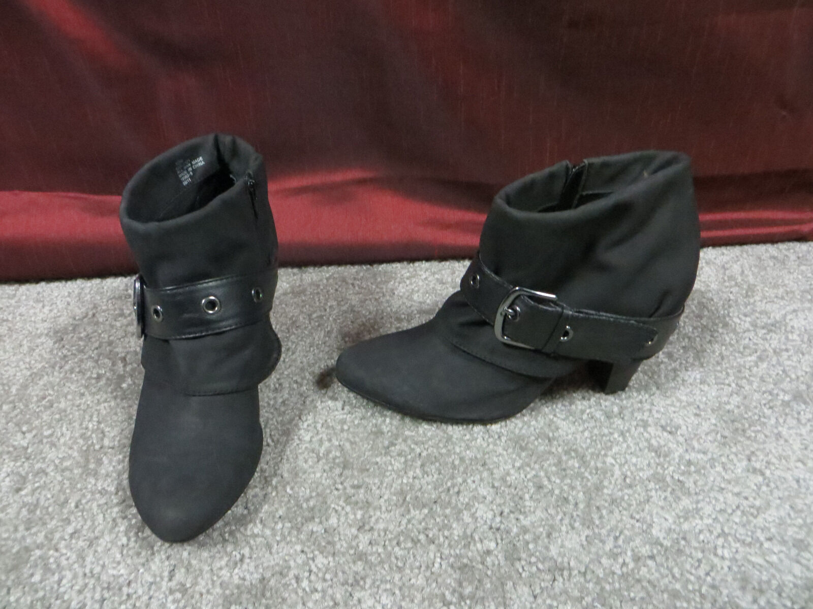 Decree Charcoal Gray Fabric Fashion Ankle Booties w/Strap & Buckle Accent, 10M