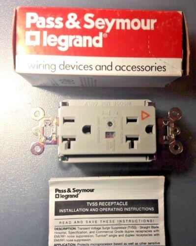 Pass /& Seymour IG5362-GRYSP 20A Audible Alarm LED TVSS Duplex Receptacle Gray