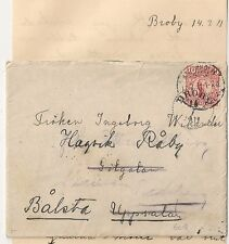 COVER SUEDE SWEDEN BRODY TO UPPSALA and BALSTA. 1911. L 601