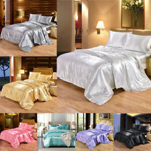 MODERN-SATIN-SILK-BEDDING-SET-DUVET-COVER-FITTED-QUILT-COVER-amp-PILLOW-CASES