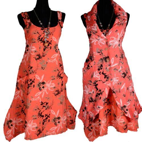 Été Floral lin tunique robe Hängerchen superposé 44 46 48 50 52 L xl rouge