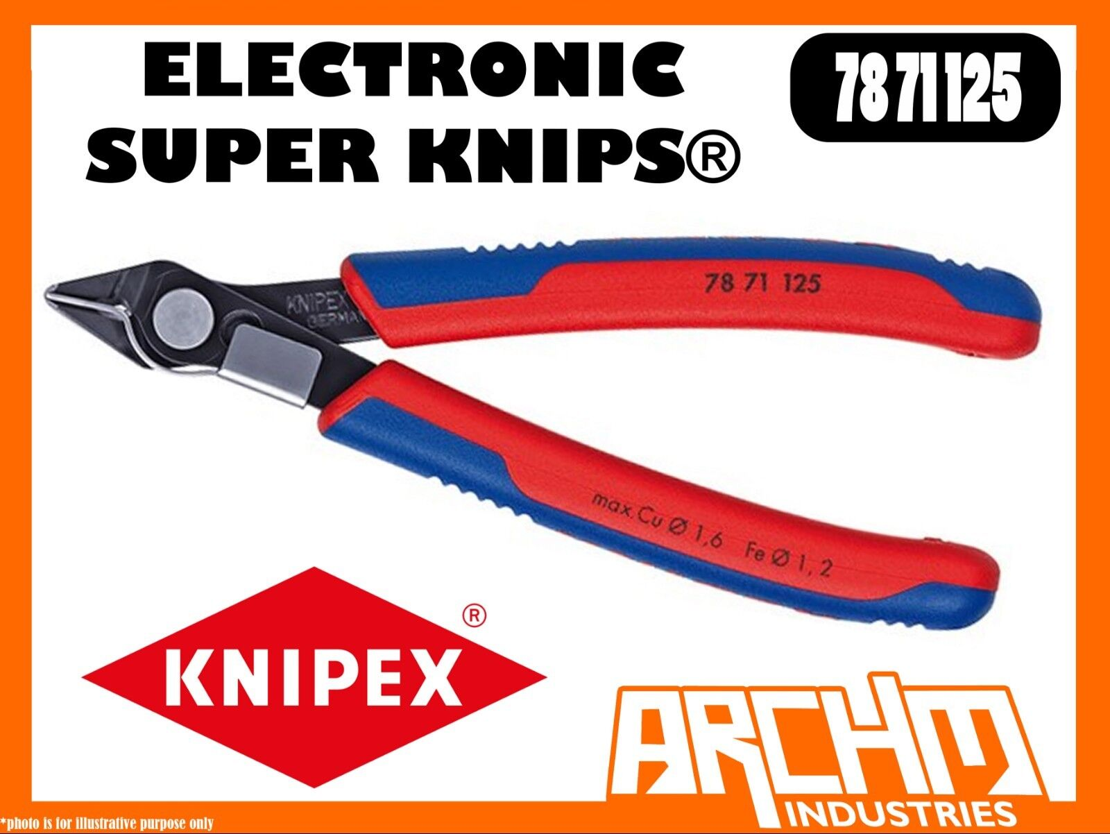 KNIPEX 7871125 - ELECTRONIC SUPER KNIPS® 125MM - PLIERS CUTTING EDGES BURNISHED