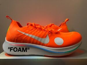 ba4a3fc1e45c Nike Zoom Fly Mercurial FK OW OFF-WHITE Orange AO2115-800 Size 10 ...