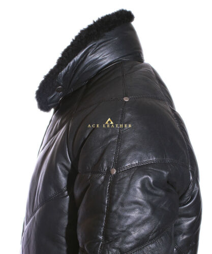 Ace Black Men/'s Puffer Style Winter Warm Real Soft Lamsbkin Fur Leather Jacket