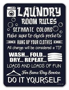 Details About Laundry Room Decor Rules Tin Funny Signs 9 X 12