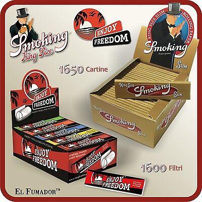 FILTRI CARTA ENJOY FREEDOM 1650 Cartine SMOKING GOLD SLIM LUNGHE 1 BOX 50 Pz