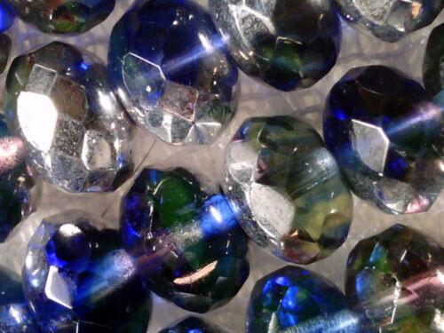 vtg 50 SILVER BLUE PURPLE FIRE POLISHED BEADS GLASS 6x9mm #052215n